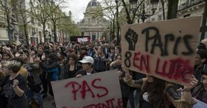 University students protest in Paris
