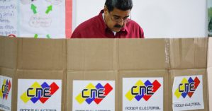 Venezuela's President Nicolas Maduro casts his vote at a polling station, during the presidential election in Caracas
